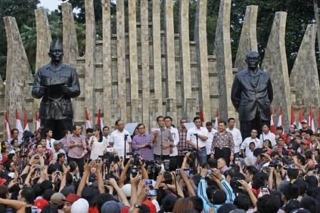 Pidato kemenangan Jokowi di Tugu Proklamasi, Jakarta