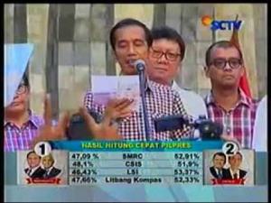 Hasil hitung cepat yang ditayangkan SCTV