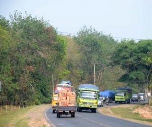 Kondisi lintas timur Sumatera di Banyuasin, Sumatera Selatan (sumber : antaranews.com)